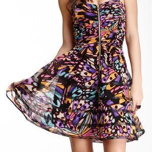 Betsey Johnson Strapless Butterfly Mesh Dress S. 8